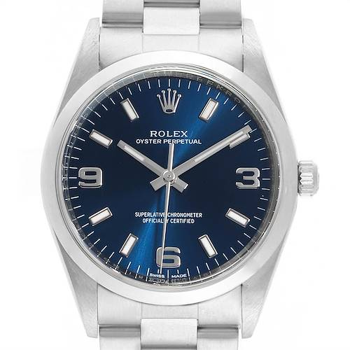 Photo of Rolex Air King 34 Blue Dial Domed Bezel Mens Watch 114200