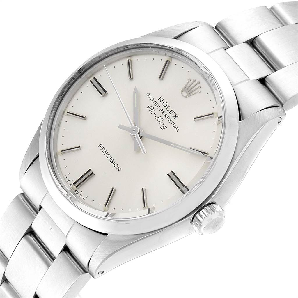 23478 Rolex Air King Vintage Stainless Steel Silver Dial Mens Watch 5500 SwissWatchExpo