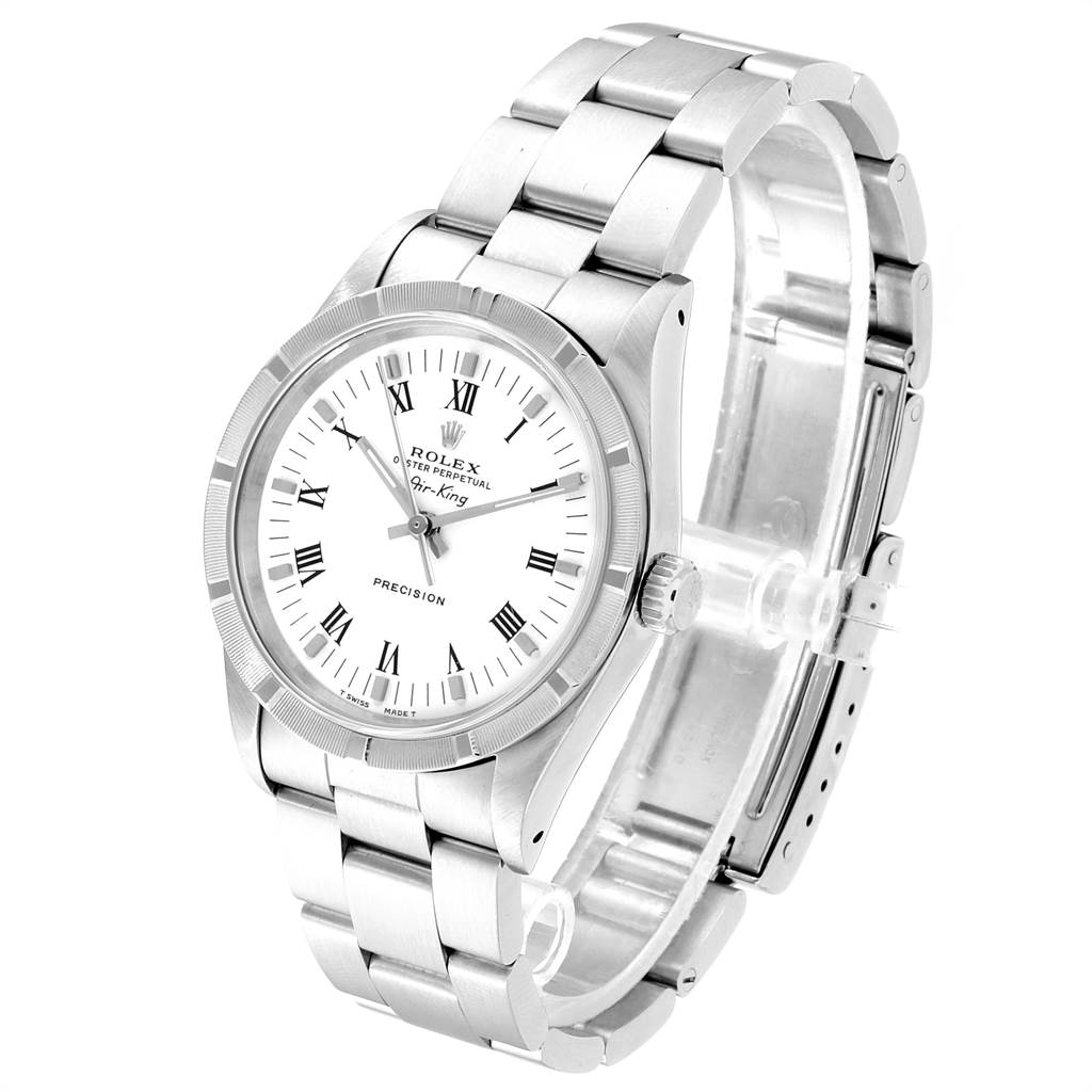 23524 Rolex Air King 34mm White Dial Steel Mens Watch 14010 Box SwissWatchExpo