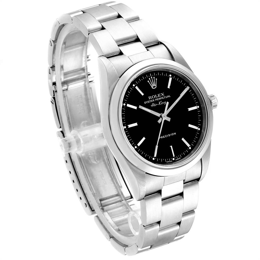 23617 Rolex Air King 34 Black Dial Domed Bezel Mens Watch 14000 SwissWatchExpo
