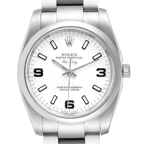 Photo of Rolex Air King White Dial Domed Bezel Steel Mens Watch 114200