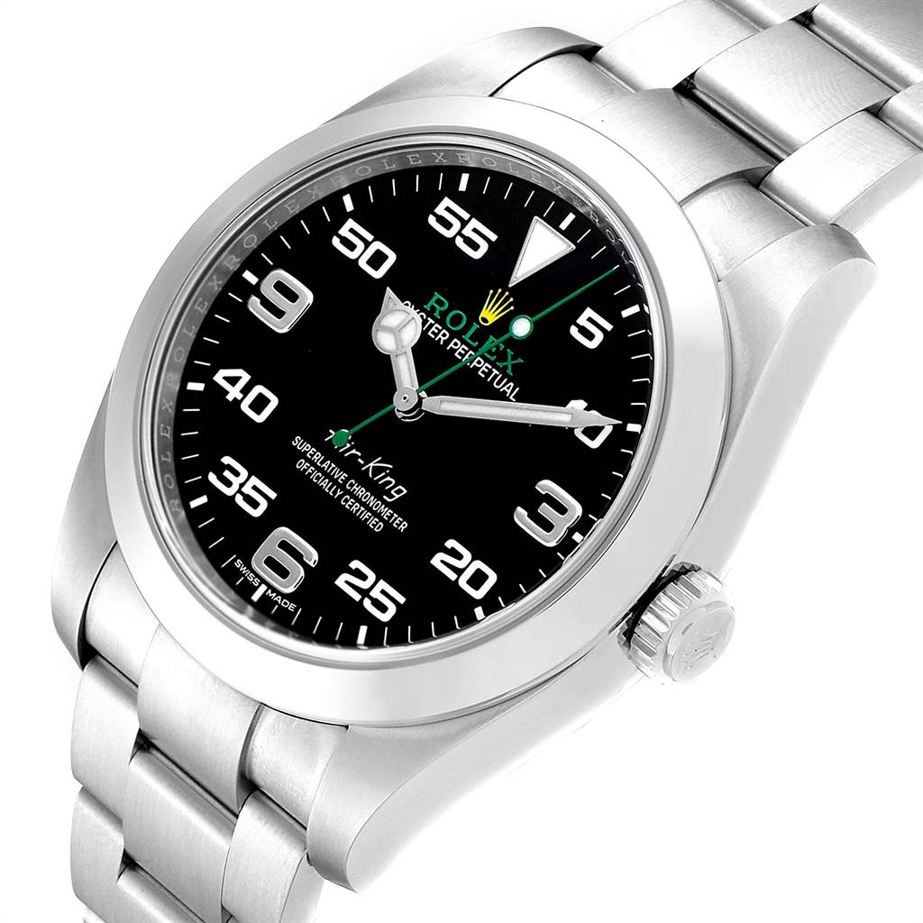 pick up 167ee 40586 Rolex Oyster Perpetual Air King Green Hand Steel Mens Watch 116900