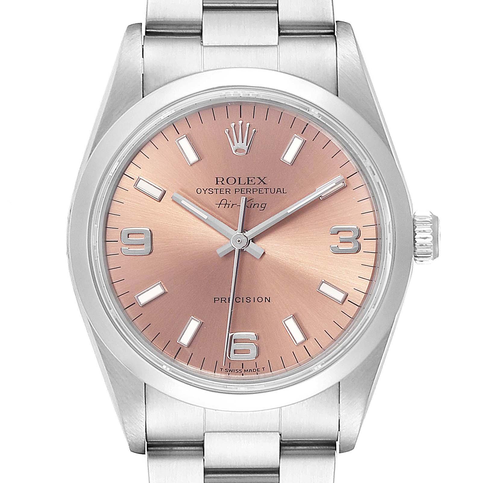 Rolex Air King 34 Salmon Dial Oyster BraceletSteel Unisex Watch 14000 SwissWatchExpo
