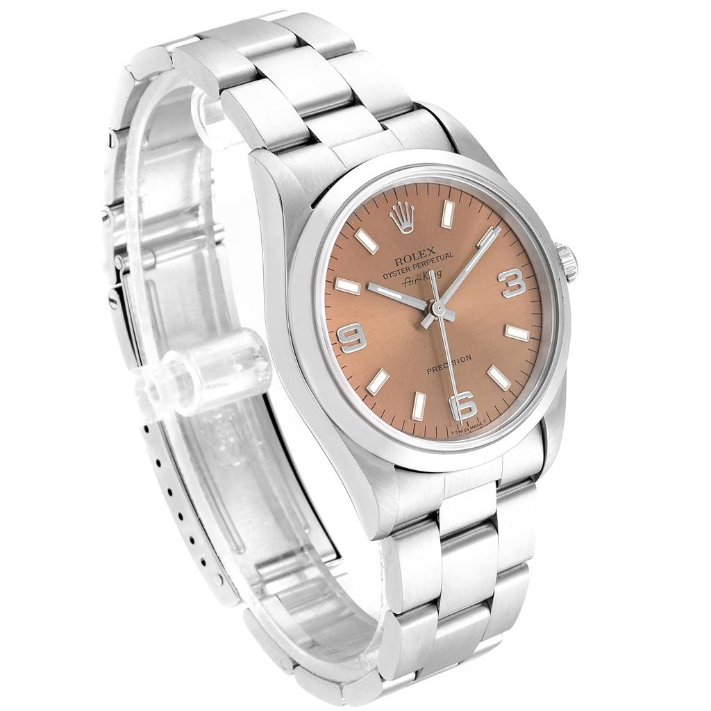 23611 Rolex Air King 34 Salmon Dial Domed Bezel Steel Unisex Watch 14000 SwissWatchExpo