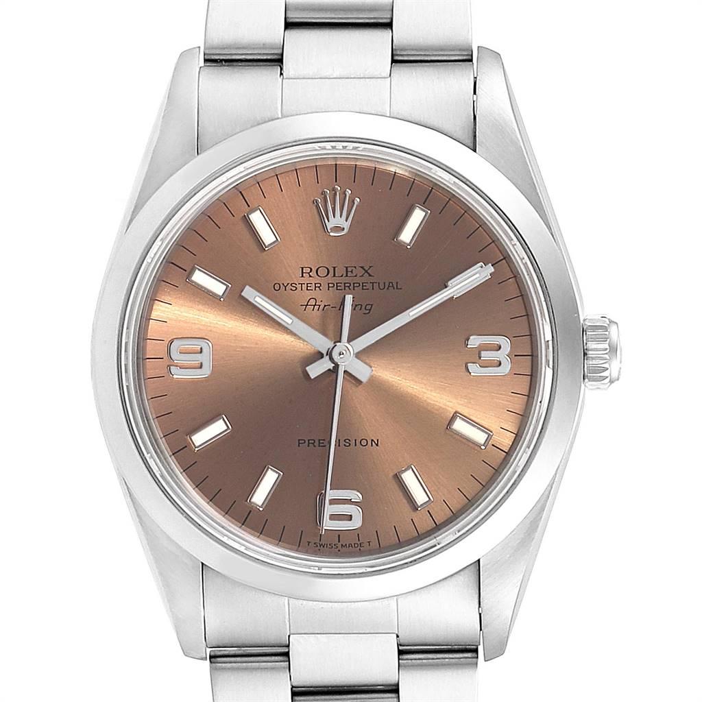 Rolex Air King 34 Salmon Dial Domed Bezel Steel Unisex Watch 14000