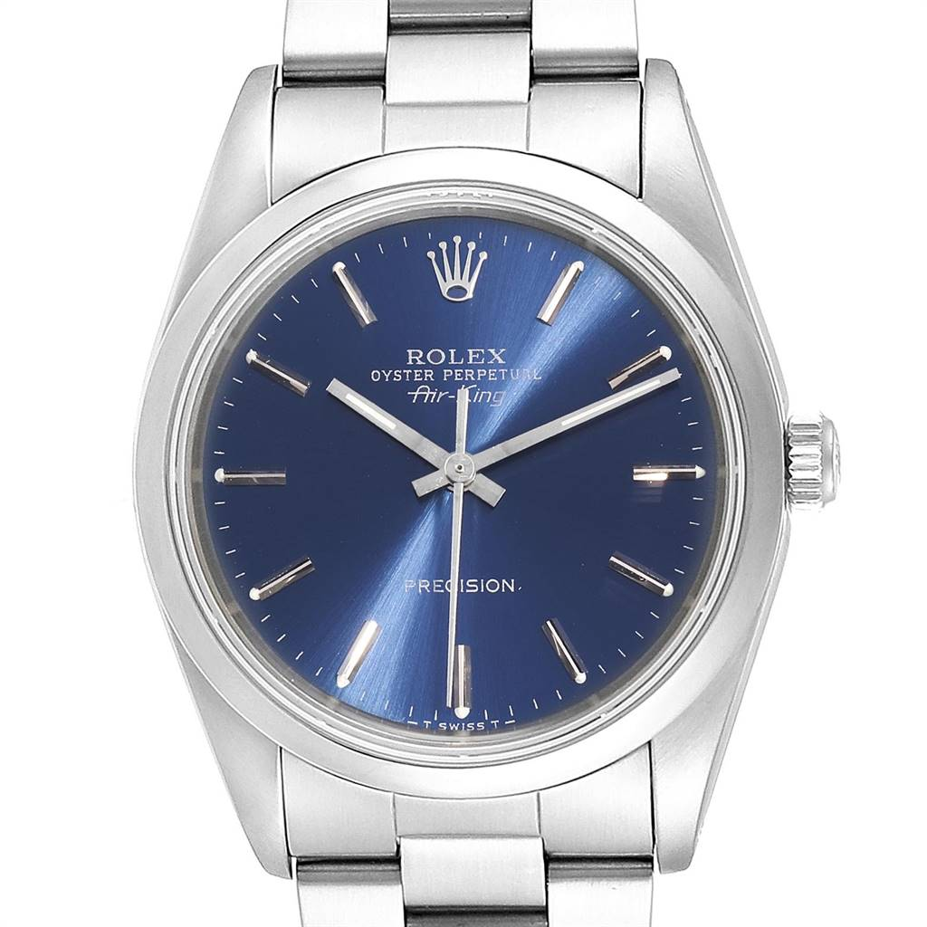 Rolex Air King 34 Blue Baton Dial Automatic Steel Mens Watch 14000 SwissWatchExpo