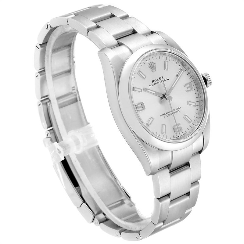 Rolex Oyster Perpetual 34mm Silver Dial Steel Mens Watch 114200 Box Card SwissWatchExpo