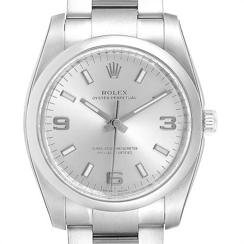 Photo of Rolex Air King 34mm Silver Dial Steel Mens Watch 114200 Box Card