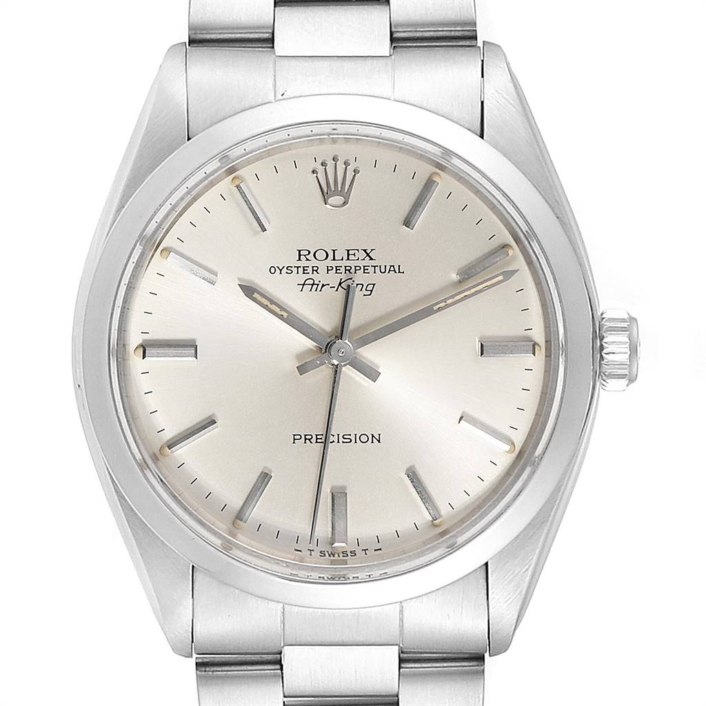 24274 Rolex Air King Vintage Stainless Steel Silver Dial Mens Watch 5500 SwissWatchExpo
