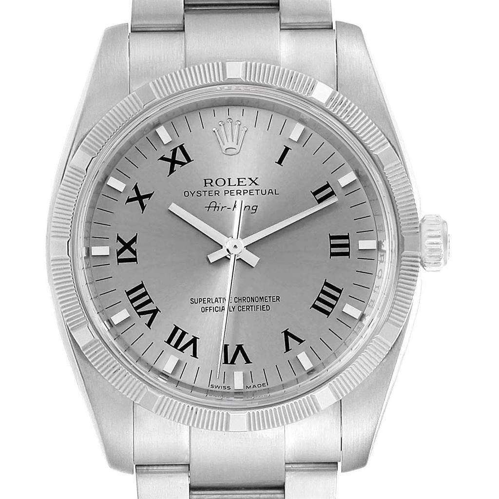 Rolex Oyster Perpetual Air King Rhodium Dial Mens Watch 114210 Box Card