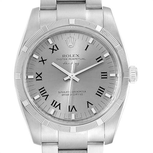 Photo of Rolex Oyster Perpetual Air King Rhodium Dial Mens Watch 114210 Box Card