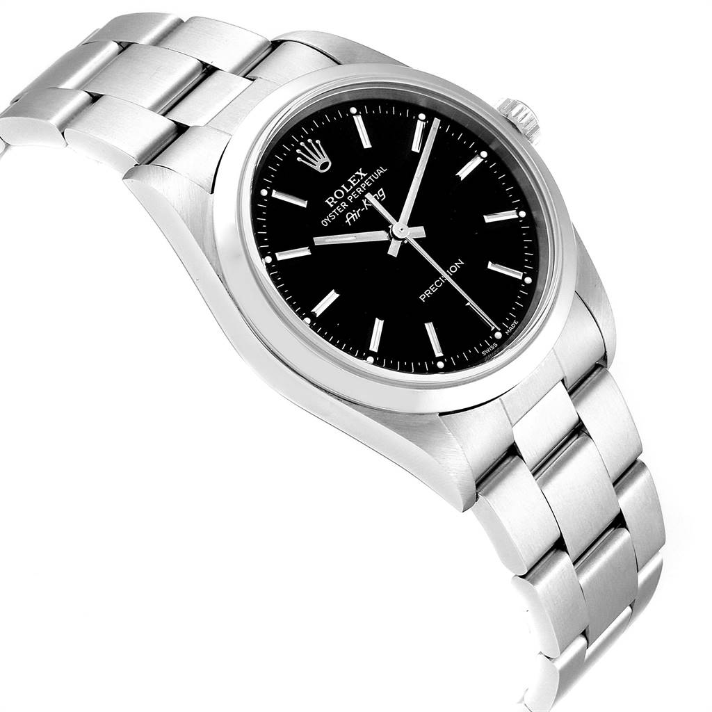 Rolex Air King 34 Black Dial Automatic Steel Mens Watch 14000 SwissWatchExpo