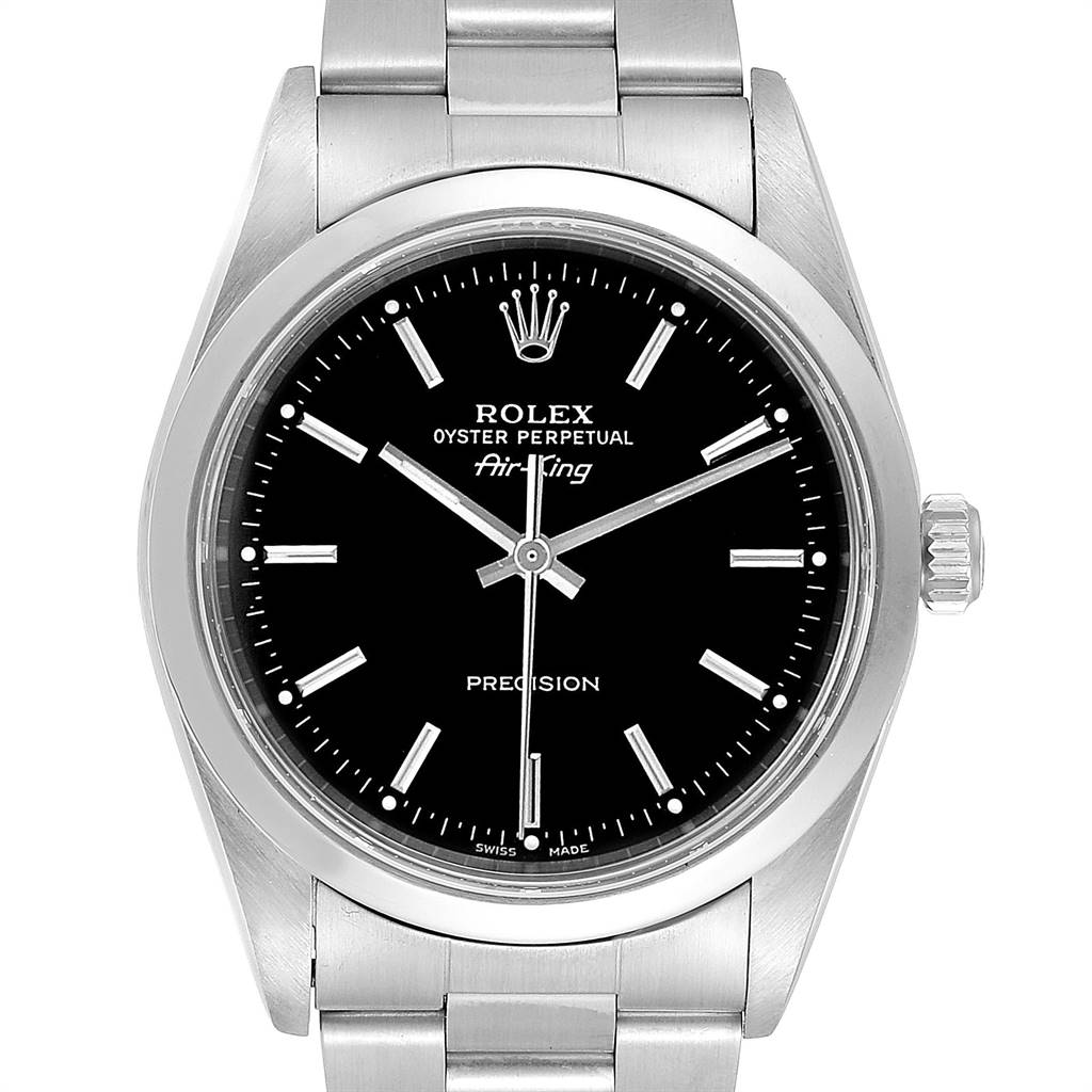 24931 Rolex Air King 34 Black Dial Automatic Steel Mens Watch 14000 SwissWatchExpo