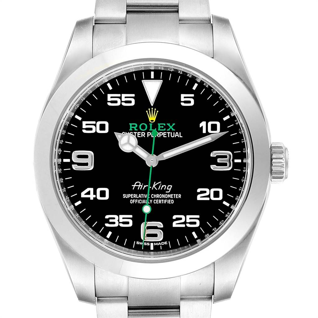 24959 Rolex Oyster Perpetual Air King Black Dial Steel Watch 116900 Box Card SwissWatchExpo
