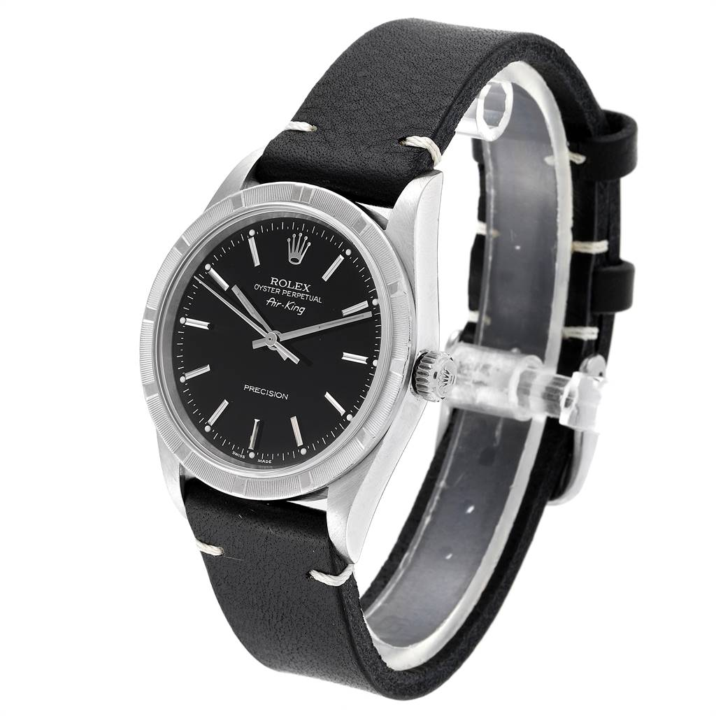 Rolex Air King 34mm Black Dial Leather Strap Steeel Mens Watch 14010 SwissWatchExpo