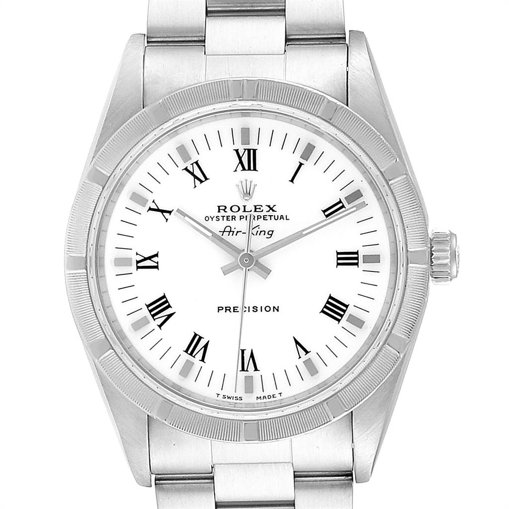 Rolex Air King 34mm White Dial Steel Mens Watch 14010 Box