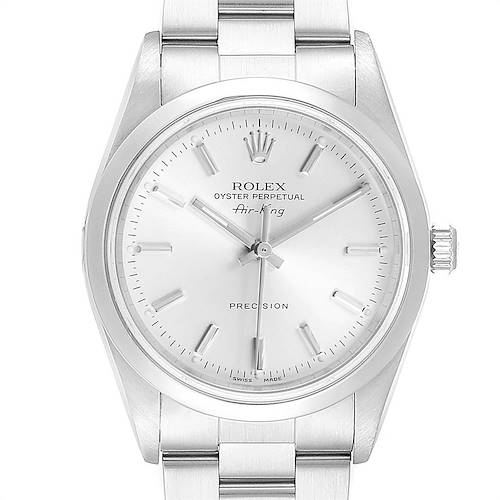 Photo of Rolex Air King Silver Dial Domed Bezel Steel Mens Watch 14000