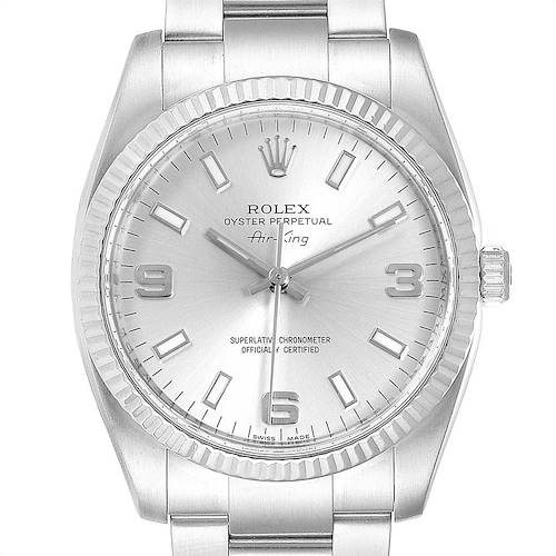 Photo of Rolex Air King Steel White Gold Fluted Bezel Mens Watch 114234 Box Card
