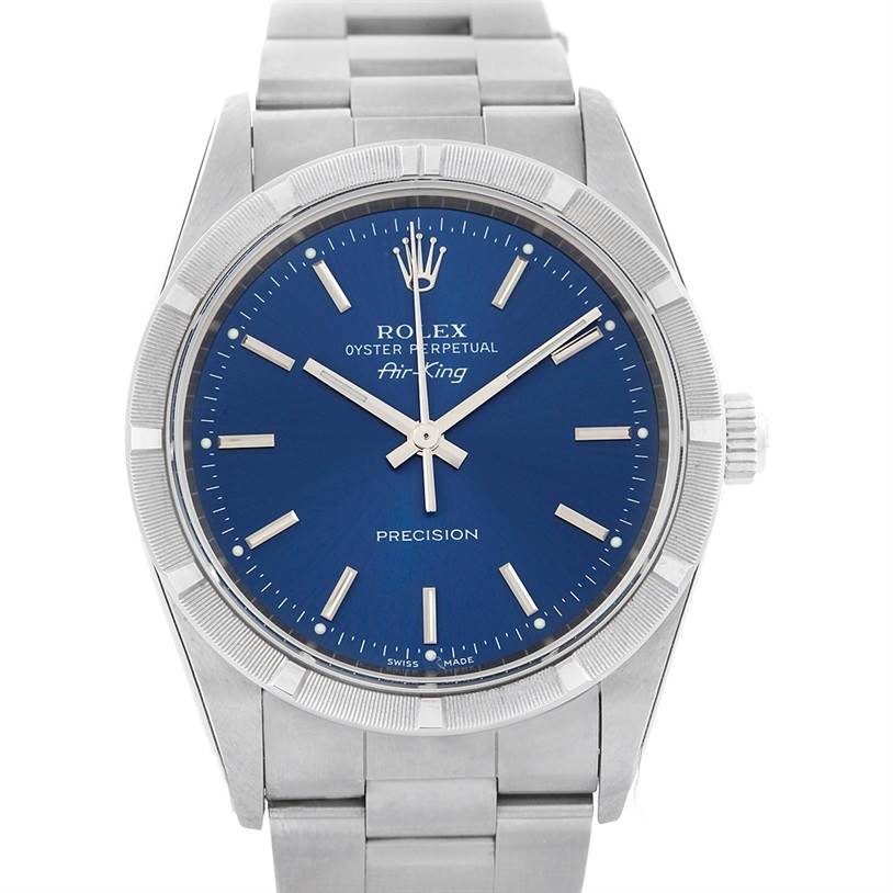 5348 Rolex Air King Blue Dial Stainless Steel Watch 14010 Box Papers SwissWatchExpo