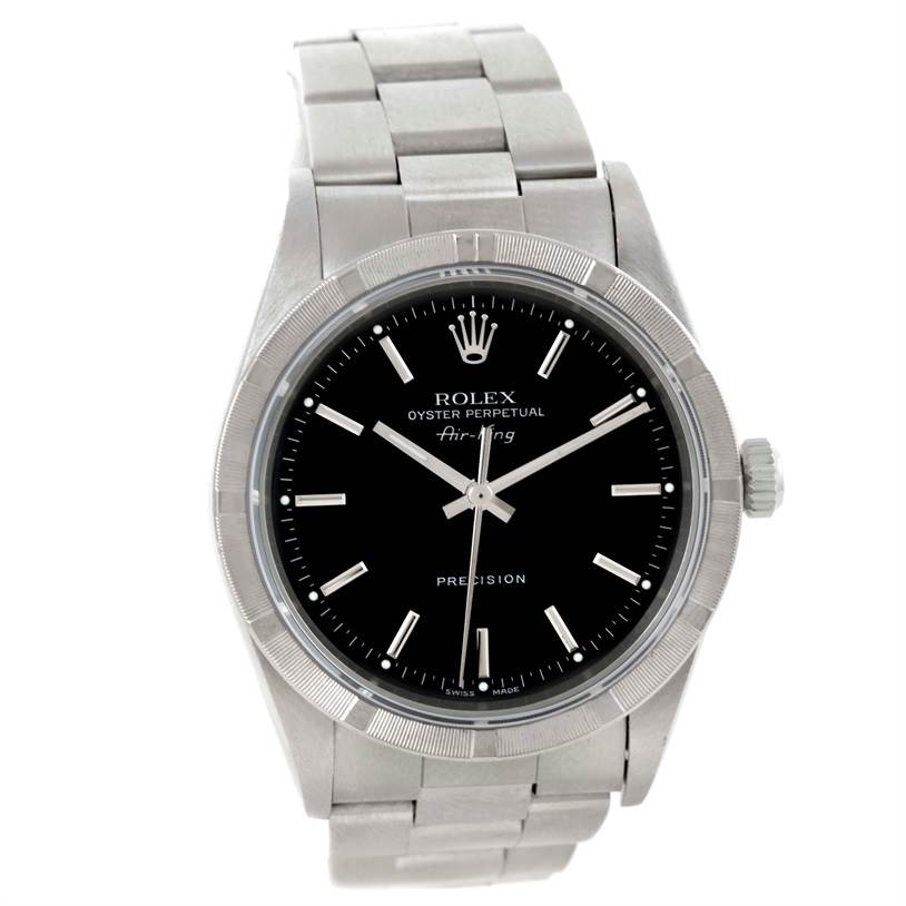 9718 Rolex Air King Black Dial Stainless Steel Mens Watch 14010 SwissWatchExpo