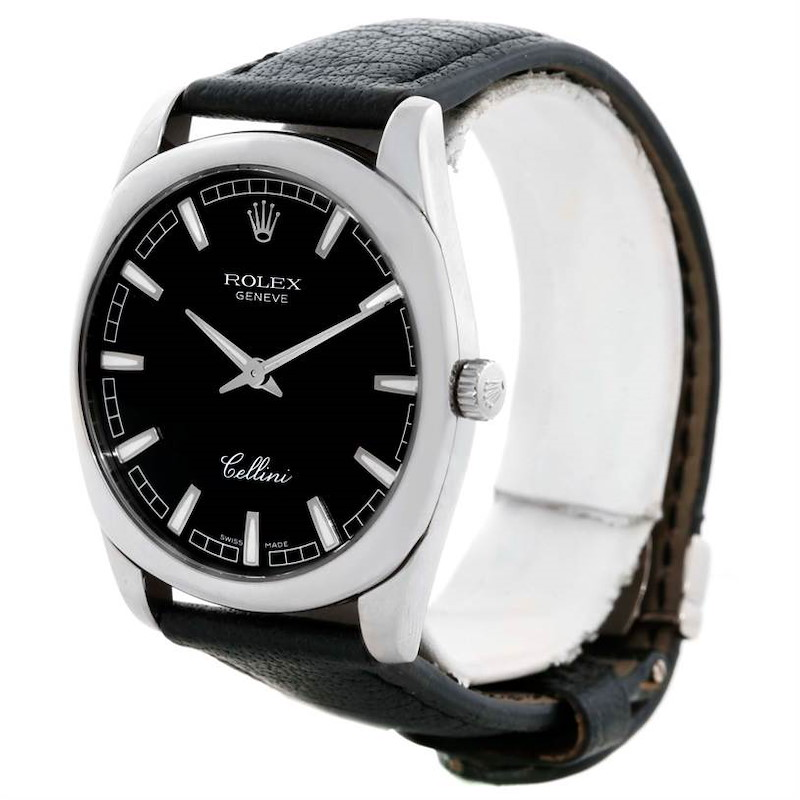 Rolex Cellini Danaos XL 18k White Gold Black Dial Watch 4243/9 SwissWatchExpo