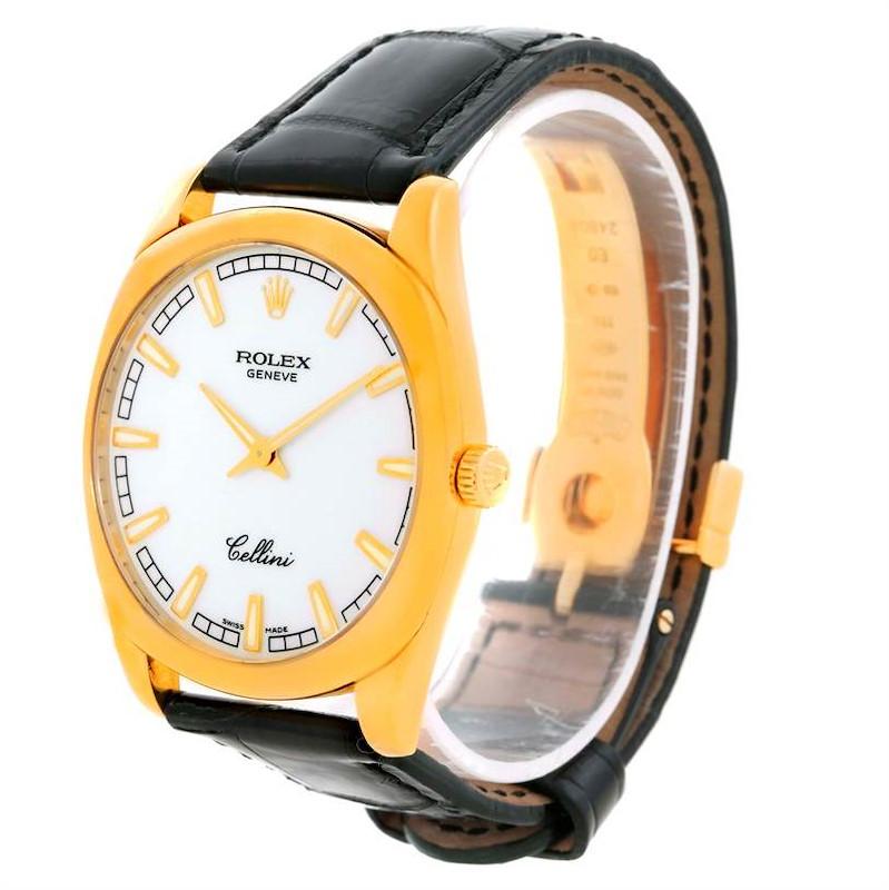 Rolex Cellini Danaos 18k Yellow Gold White Dial Mens Watch 4243 SwissWatchExpo