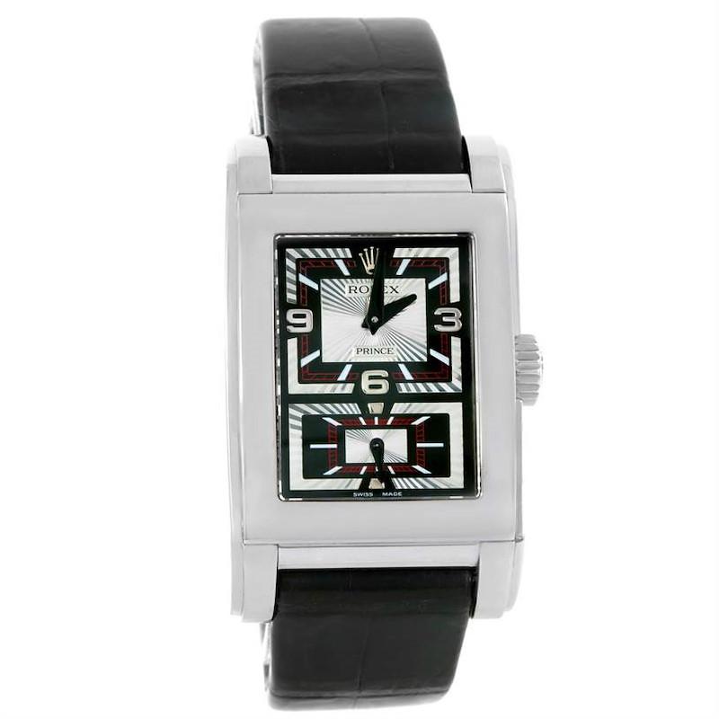 Rolex Cellini Prince Black Dial 18K White Gold Mens Watch 5443 SwissWatchExpo