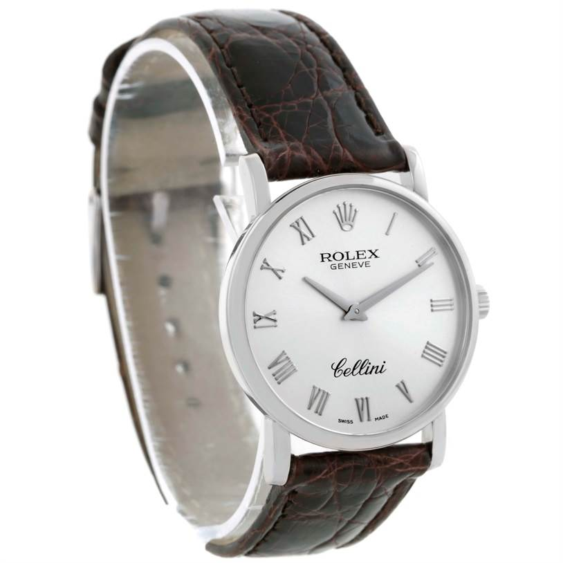 10177 Rolex Cellini Classic 18K White Gold Silver Roman Dial Watch 5115 SwissWatchExpo