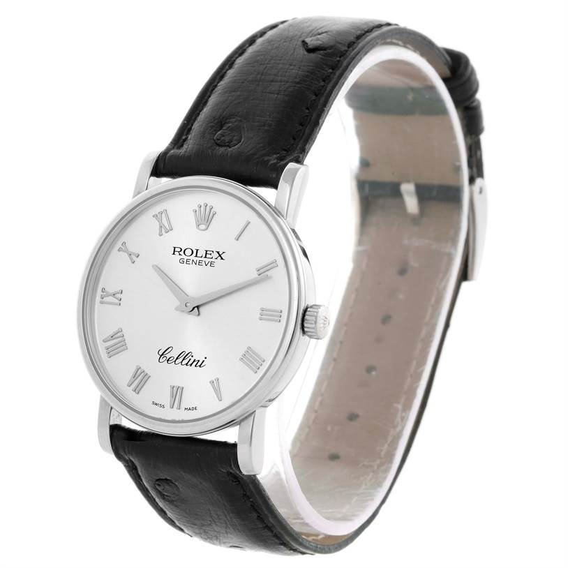 10519 Rolex Cellini Classic 18K White Gold Silver Roman Dial Watch 5115 SwissWatchExpo