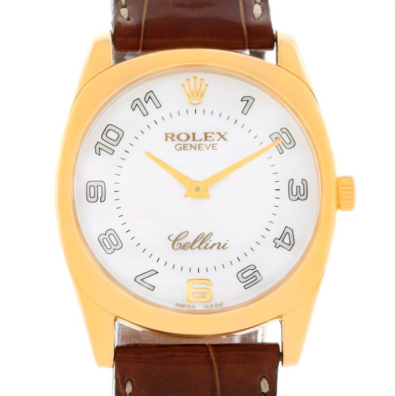Rolex Cellini Danaos 18k Yellow Gold White Dial Watch 4233 SwissWatchExpo