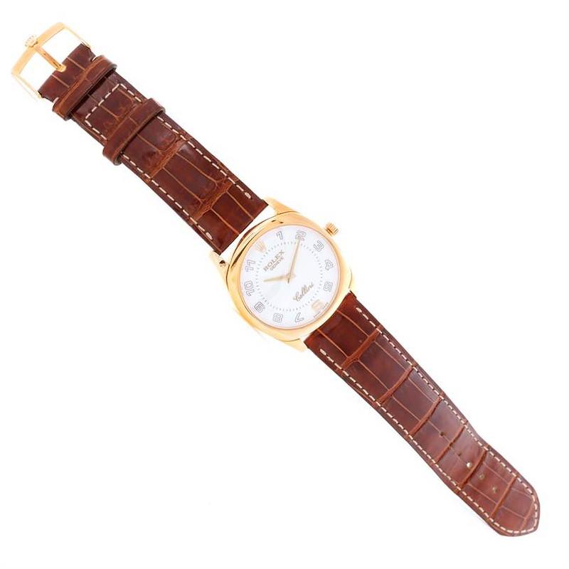 Rolex Cellini Danaos 18k Yellow Gold White Dial Watch 4233 Box SwissWatchExpo