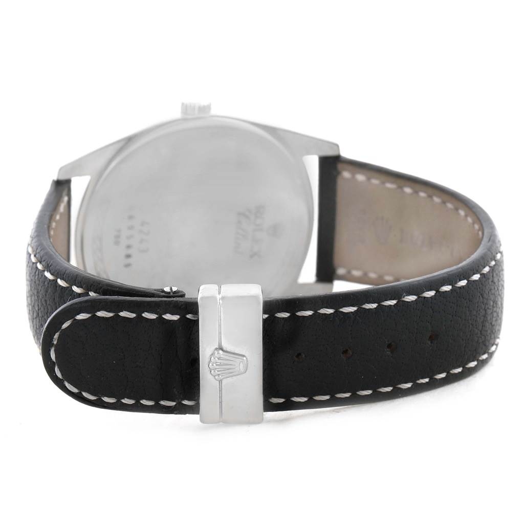 Rolex Cellini Danaos Xl White Gold Black Strap 38mm Mens Watch 4243