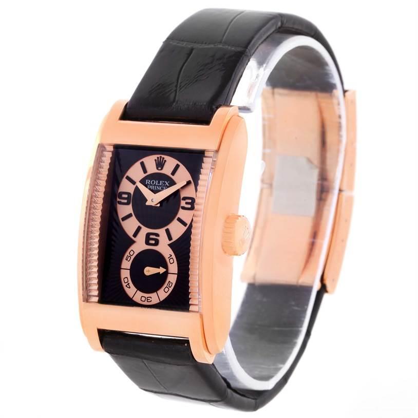 Rolex Cellini Prince Black Dial 18K Rose Gold Mens Watch 5442 Unworn SwissWatchExpo