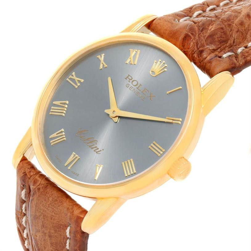 11983 Rolex Cellini Classic 18k Yellow Gold Slate Dial Brown Strap Watch 5116 SwissWatchExpo