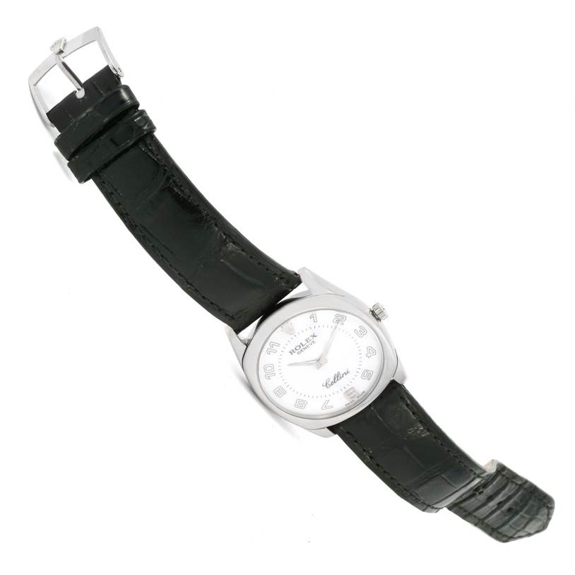 12307 Rolex Cellini Danaos 18k White Gold Black Strap Watch 4233 Box SwissWatchExpo