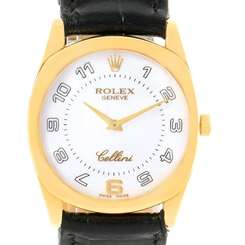 12093 Rolex Cellini Danaos 18 Yellow Gold White Dial Black Strap Watch 4233 SwissWatchExpo
