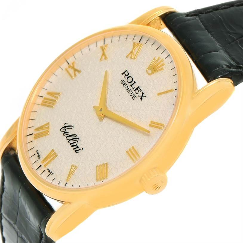 12377 Rolex Cellini Classic 18k Yellow Gold Ivory Jubilee Dial Watch 5116 SwissWatchExpo