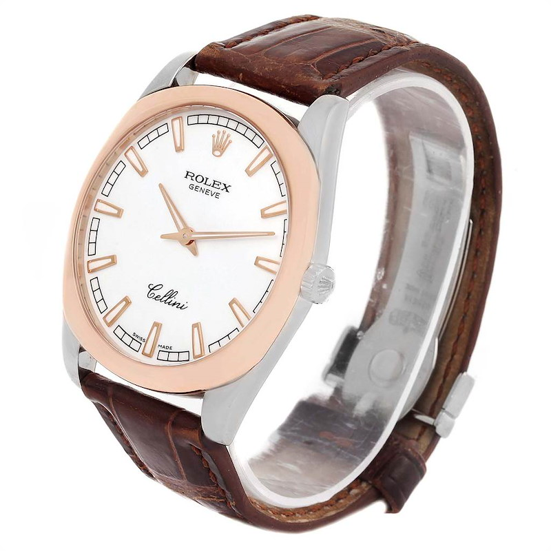Rolex Cellini Danaos 38mm White and Rose Gold Mens Watch 4243 SwissWatchExpo