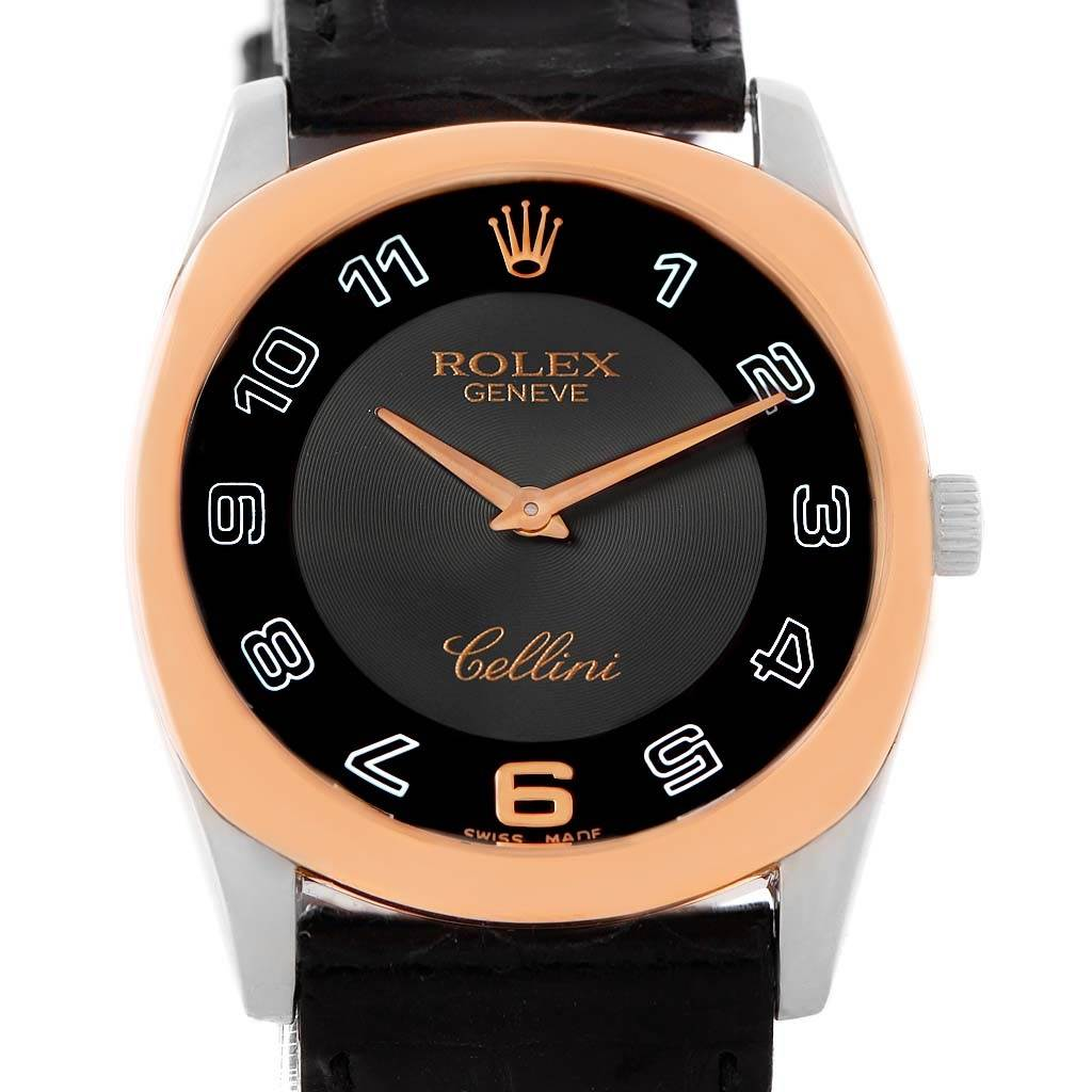 14017 Rolex Cellini Danaos 18k White Rose Gold Black Strap Watch 4233 SwissWatchExpo