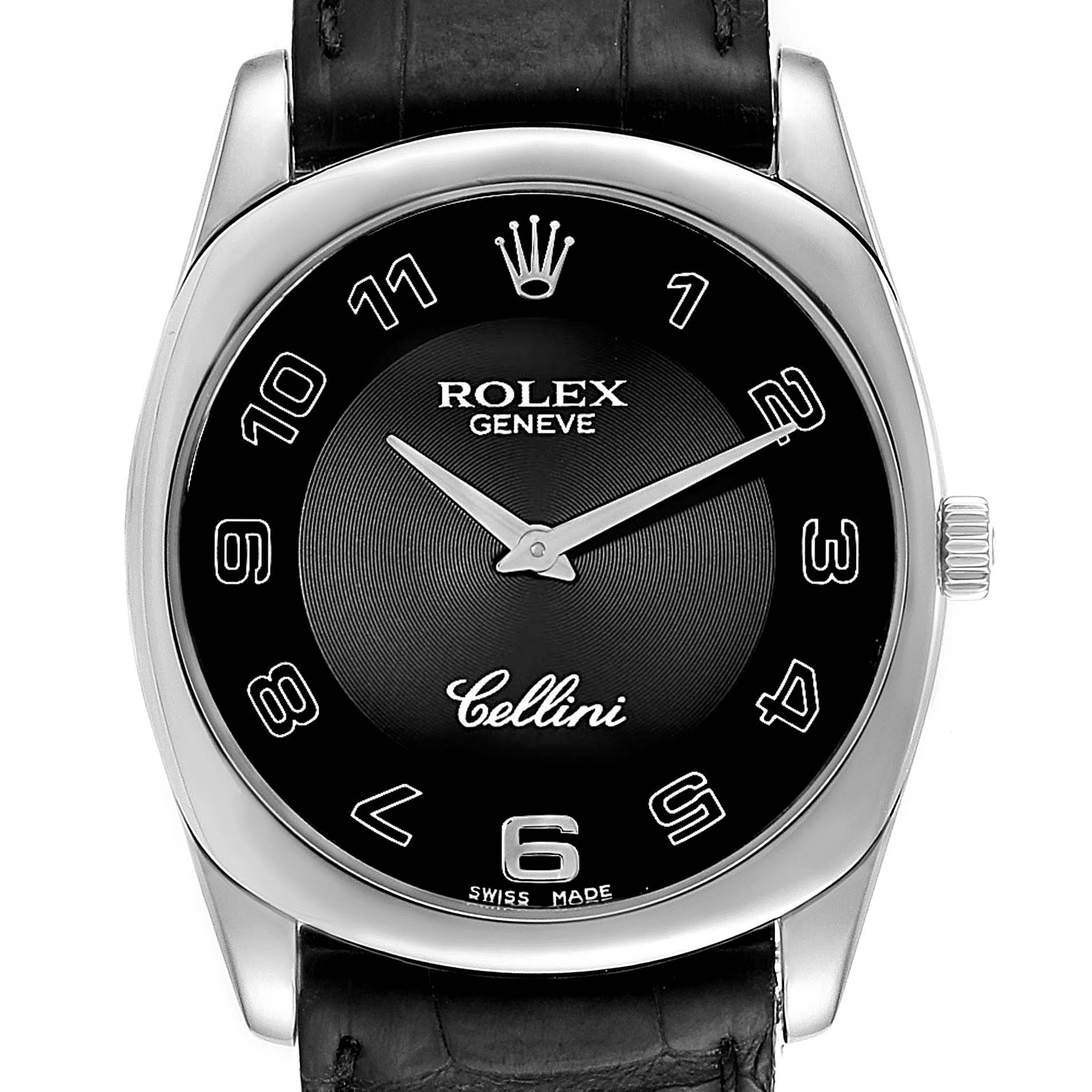 Rolex Cellini Danaos 18k White Gold Black Dial Unisex Watch 4233