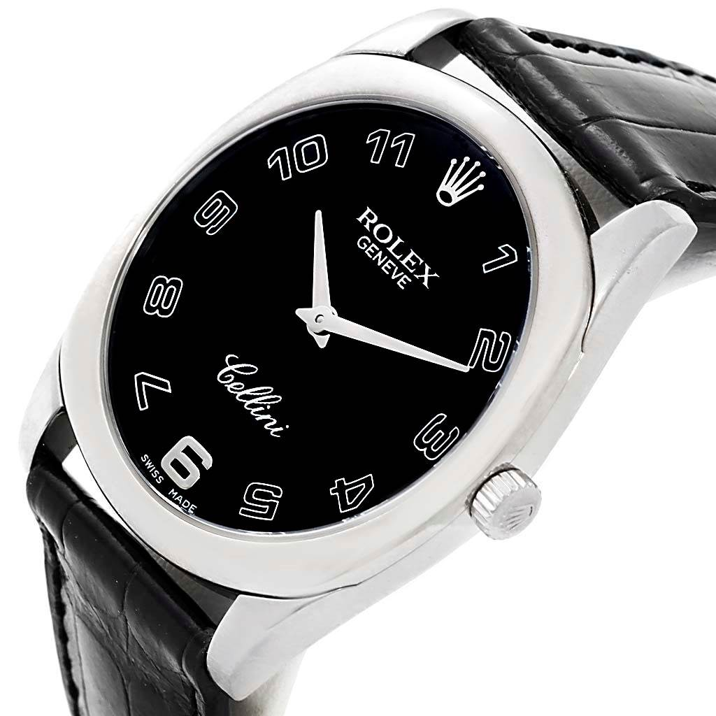 Rolex Cellini Danaos White Gold Black Dial Mens Watch 4233 Box papers SwissWatchExpo
