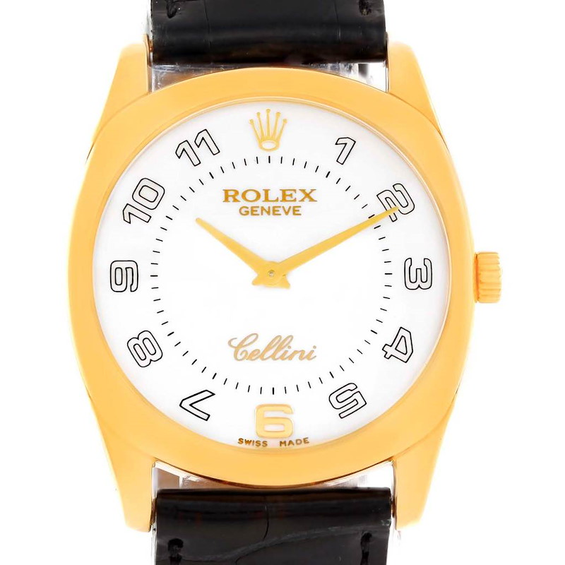 Rolex Cellini Danaos 18k Yellow Gold White Dial Mens Watch 4233 SwissWatchExpo