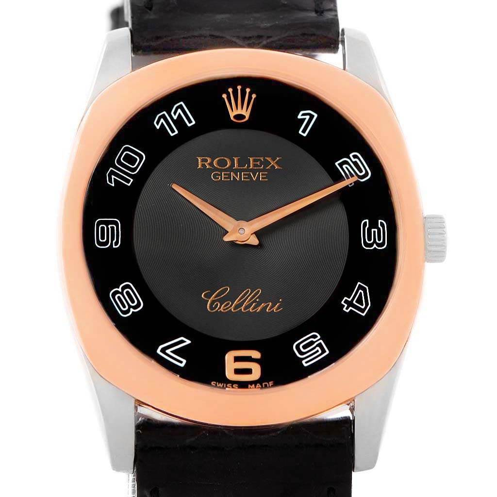 Rolex Cellini Danaos White and Rose Gold Black Strap Watch 4233 Box SwissWatchExpo