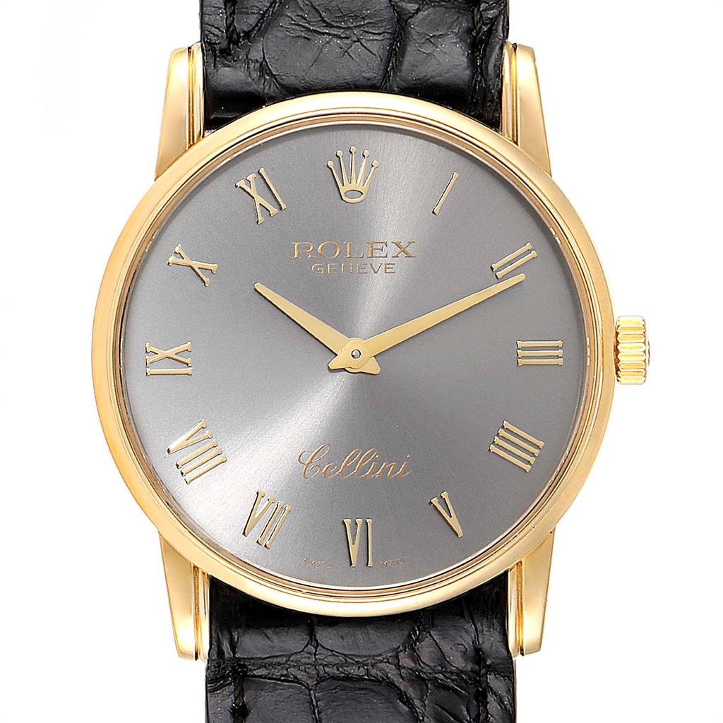 Rolex Cellini Classic Yellow Gold Slate Dial Mens Watch 5116 Box Papers SwissWatchExpo