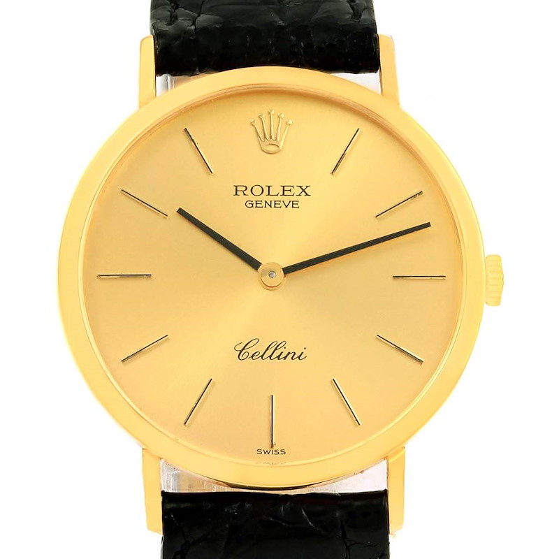 Rolex Cellini Classic 18k Yellow Gold Mens Watch 4112 Box Papers SwissWatchExpo