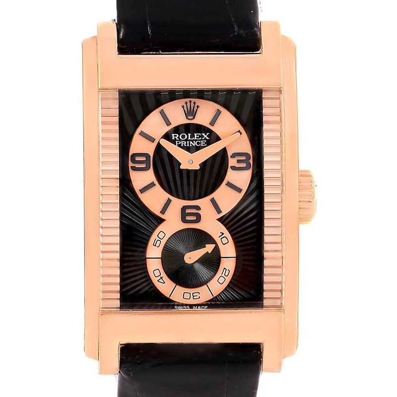 Rolex Cellini Prince Black Dial 18K Rose Gold Mens Watch 5442 Unworn SwissWatchExpo