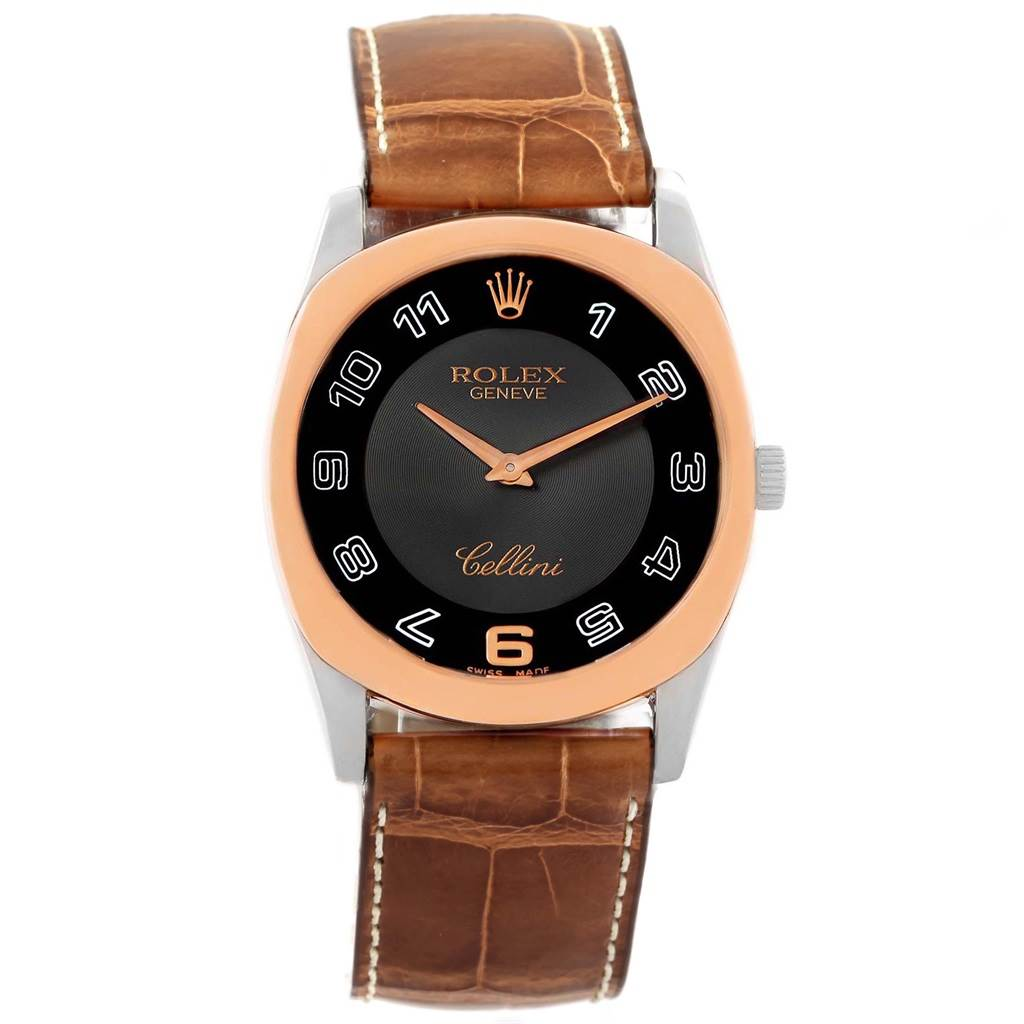 Rolex Cellini Danaos White Rose Gold Black Dial Watch 4233 Box Papers SwissWatchExpo