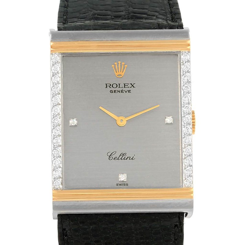 Rolex Cellini Vintage 18k White and Yellow Gold Diamond Mens Watch 4127 SwissWatchExpo