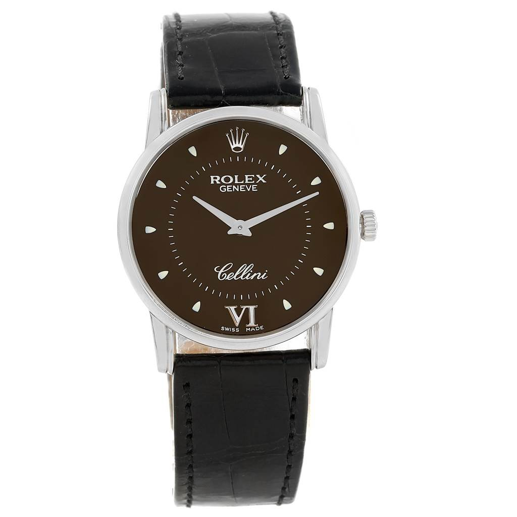 ba32d31004be ... 17758 Rolex Cellini Classic White Gold Brown Dial Watch 5116 Box Card  SwissWatchExpo ...