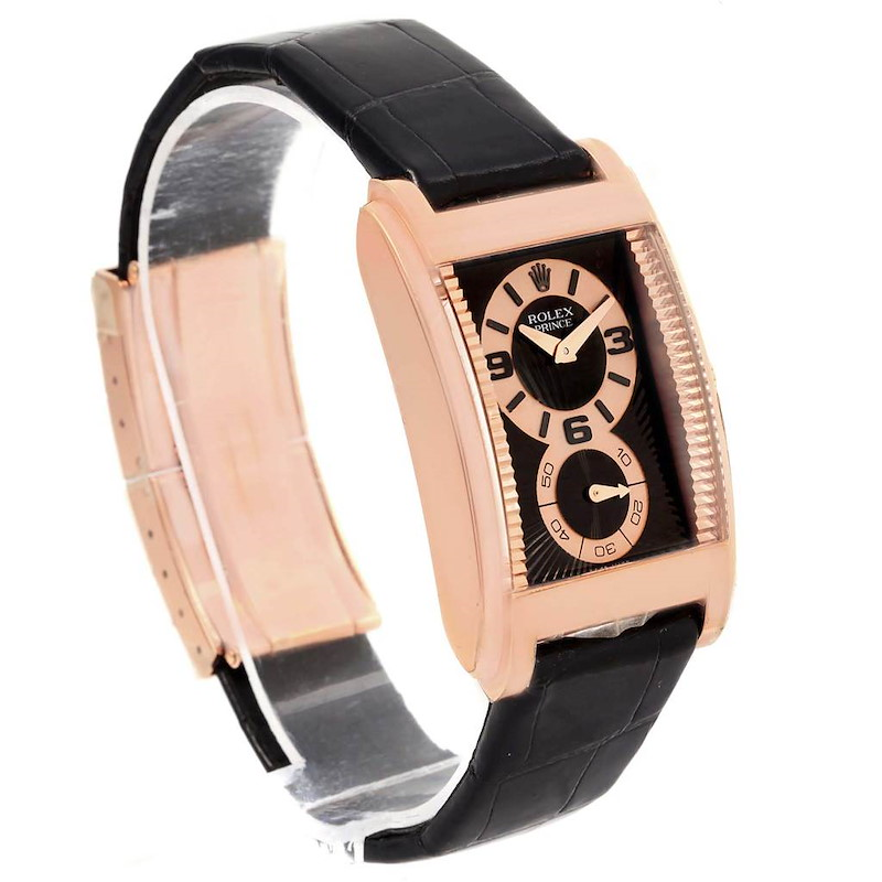 Rolex Cellini Prince Black Dial 18K Rose Gold Mens Watch 5442 Box Card SwissWatchExpo